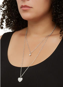 Heart Pendant Layered Necklace - 3138063090339