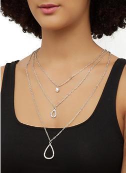 Rhinestone Teardrop Layered Necklace - 3138063090349