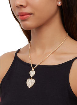 Rhinestone Two Heart Necklace with Stud Earrings - 3138063094632