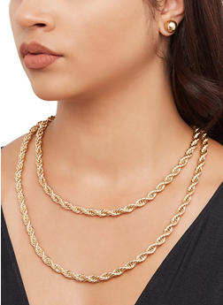 Metallic Rope Chain Necklaces with Stud Earrings - 3138065191315