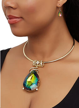 Jewel Collar Necklace and Earrings - 3138067252305