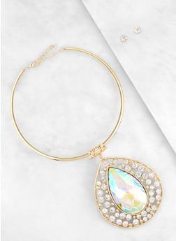 Oversized Teardrop Pendant Necklace with Stud Earrings - 3138067254510