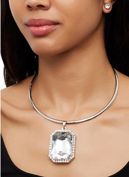 Large Rectangle Jewel Necklace with Stud Earrings - 3138067259131