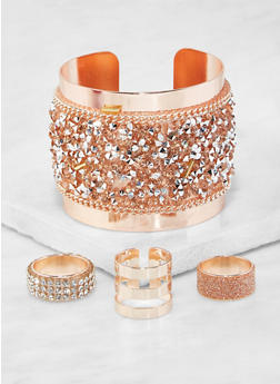 Rhinestone Encrusted Cuff Bracelet and Ring Trio - 3138071210032
