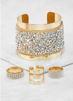 Rhinestone Encrusted Cuff Bracelet and Ring Trio - 3138071210032