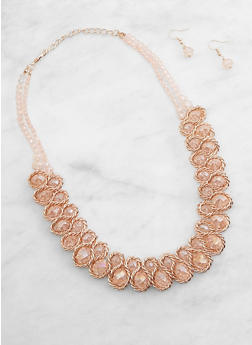 Beaded Metallic Woven Necklace and Earrings - 3138071210055
