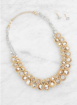 Beaded Metallic Woven Necklace and Earrings - 3138071210055