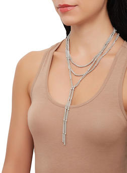 Layered Metallic Chain Necklace and Stud Earrings Set - 3138071210560