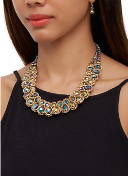 Chain Woven Bead Statement Necklace and Drop Earrings - 3138071212055