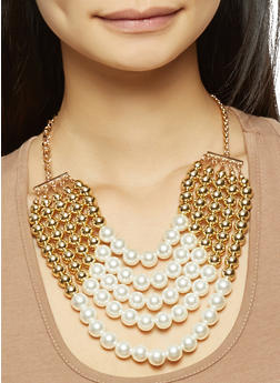 Layered Beaded Necklace and Drop Earrings Set - 3138071217609