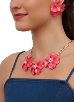 Flower Statement Necklace And Earrings - 3138071217851
