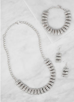 Glitter Chain Link Necklace with Bracelet and Earrings - 3138071430385