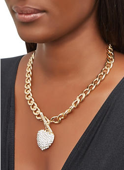 Heart Charm Curb Chain Necklace and Bracelet with Stud Earrings - 3138071431358