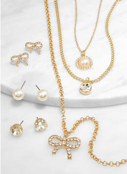 Faux Pearl Bow Layered Necklace with Earrings - 3138071434320