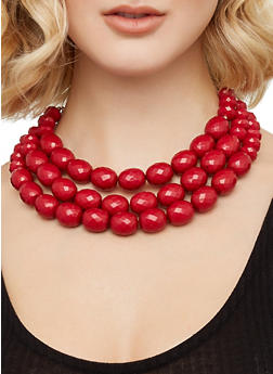 Large Beaded Necklace and Earrings - 3138071434325