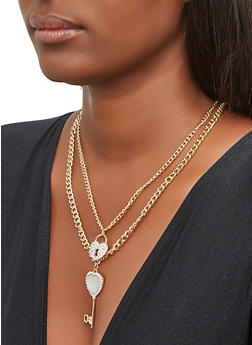 Layered Key Charm Necklace and Drop Earrings - 3138071434328