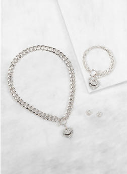 Curb Chain Necklace and Bracelet with Stud Earrings - 3138071435083