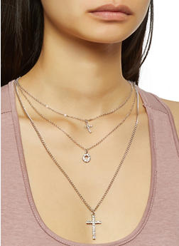 Charm Layered Necklace with Stud Earrings - 3138071435107