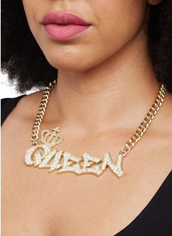 Chunky Metallic Queen Necklace - 3138071435487