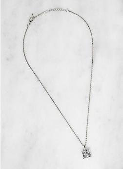 Square Cubic Zirconia Necklace - 3138071435578
