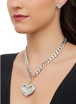Rhinestone Heart Toggle Necklace and Earrings - 3138071436518