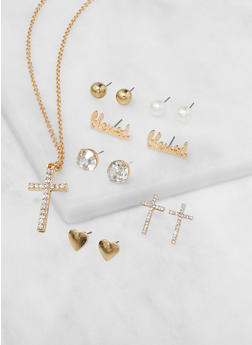 Cross Necklace with Assorted Stud Earrings - 3138071437535