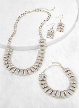 Glitter Necklace Bracelet and Drop Earrings - 3138071438357