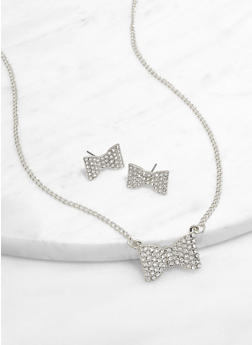 Rhinestone Bow Necklace and Stud Earrings - 3138071439105