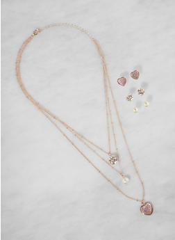 Layered Charm Necklace and Trio of Stud Earrings - 3138071439310