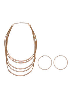 Layered Faux Leather Metallic Necklace and Hoop Earring Set - 3138072373086