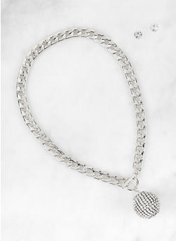 Rhinestone Disco Ball Curb Chain Necklace with Stud Earrings - 3138072690720
