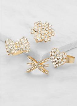 Set of Assorted Rhinestone Rings - 3138072690873