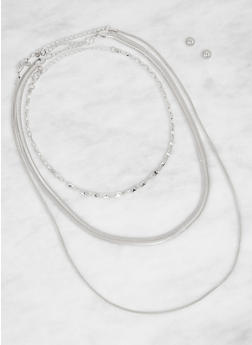 Metallic Chain Necklace Trio with Stud Earrings - 3138072690887