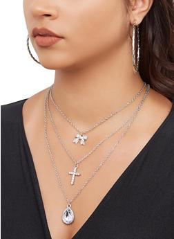 Rhinestone Cross Charm Necklace with Hoop Earring Trio - 3138072692076