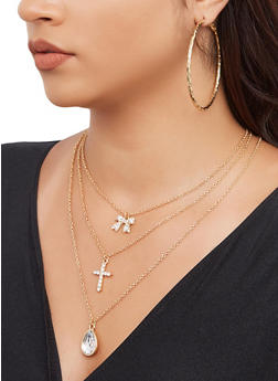 Rhinestone Cross Charm Necklace with Hoop Earring Trio - 3138072692076