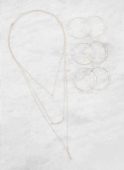 Layered Charm Necklace and Hoop Earrings Set - 3138072692844