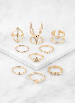 Set of Metallic Glitter Rings - 3138072694106
