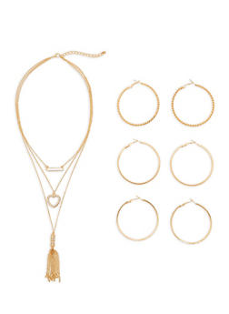 Rhinestone Layered Necklace and Hoop Earrings Set - 3138072694480