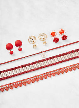 Set of 3 Chokers and Reversible Stud Earrings - 3138072695849