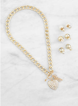 Charm Curb Chain Necklace with Reversible Stud Earrings - 3138072696065