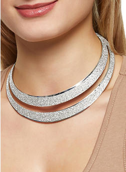 Glitter Collar Necklace with Bangles and Stud Earrings - 3138072696662