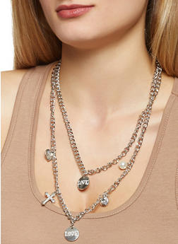 Charm Chain Necklace and Bracelet with Earrings Set - 3138072696664