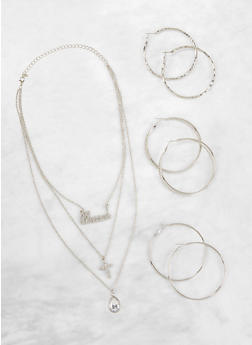 Layered Charm Necklace and Hoop Earrings Set - 3138072696702