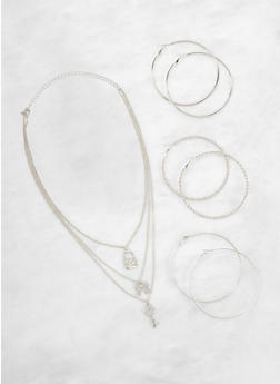 Layered Charm Necklace with Hoop Earrings - 3138072696703