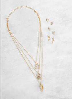 Layered Charm Necklace with Stud Earring Trio - 3138072696704