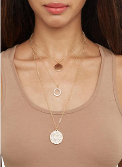 Layered Charm Necklace and Hoop Earrings Set - 3138072696706