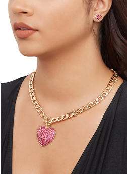 Heart Curb Chain Necklace and Bracelet with Stud Earrings - 3138072696731