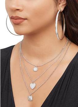 Layered Pyramid Charm Necklace with Hoop Earring Trio - 3138072696767