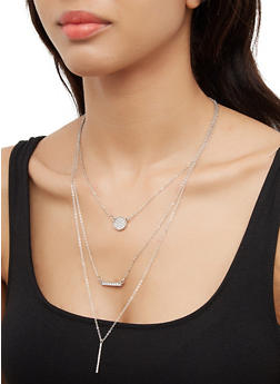 Layered Circle Pendant Necklace with Earrings - 3138072697138