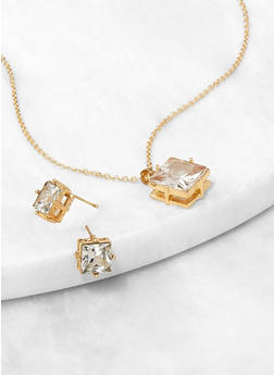 Square Rhinestone Charm Necklace and Stud Earrings - 3138072697200